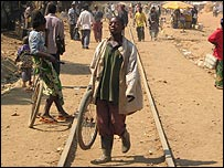 Railway line, no longer in use, in Lubumbashi, DR Congo