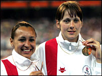 Jessica Ennis (left) and Kelly Sotherton on the Commonwealth podium