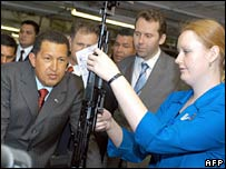 Hugo Chavez inspects a Kalashnikov assault rifle at Izhmash factory in Izhevsk