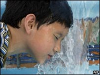 A child cools off in Monterey Park, Los Angeles, California