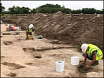 Archaeologists digging at the site of the Roman settlement