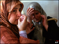 Lebanese women refugees from Israeli bombing