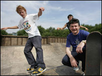 Alun Pugh at launch of a skateboard park in Caerphilly on Wednesday