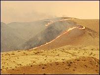 Brush fires in Fresno County, California