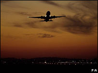 Aeroplane above Heathrow Airport