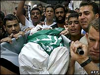 Palestinians carry a body to a funeral in Gaza
