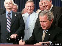 President Bush signs the Miner Act into law, June 2006