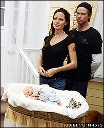 Waxwork models of Brad Pitt, Angelina Jolie and Shiloh