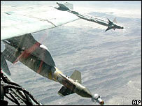 A US guided bomb unit (left) and a Sidewinder short-range air-to-air missile