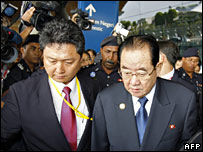 North Korean Foreign Minister Paek Nam-sun (right) arriving in Kuala Lumpur