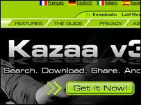 Screen grab of the Kazaa site
