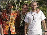 Love Island contestants Leo Ihenacho, Lee Otway and Shane Lynch
