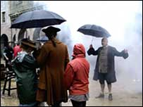 Fog on set of BBC's Sweeney Todd
