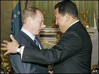 Russian President Vladimir Putin and Venezuelan President Hugo Chavez in Moscow