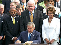 President Bush signs the extension into law
