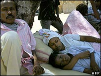 Ethiopians camping outside the UNHCR offices (United Nations High Commissioner for Refugees) in Beirut