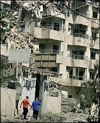 Flats in Beirut in ruins after the bombs
