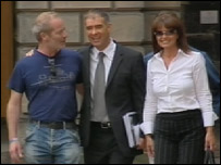 Actor Peter Mullan with Mr Sheridan and his wife