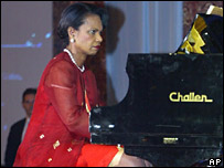 Condoleezza Rice plays the piano at the Asean gala