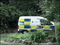 Police van in West Bank Park, Holgate
