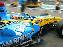Fernando Alonso leaves the pits at Hockenheim