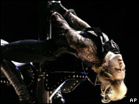 Madonna during the Confessions tour in USA