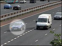 BBC cameras captured cars with R plates (circled) overtaking on motorways