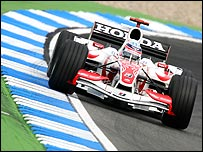 Super Aguri's Takuma Sato in the team's new car