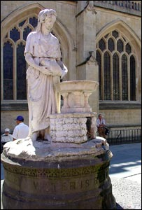 """Water is Best"" statue outside Bath Abbey"