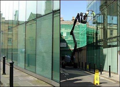 Window cleaners putting the finishing touches to Bath's new spa