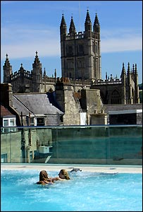 The rooftop pool - with views of Bath Abbey - at the city's new spa