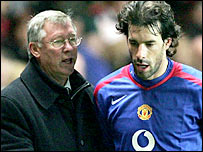 Sir Alex Ferguson alongside former Man Utd striker Ruud van Nistelrooy