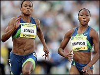 Marion Jones and Sherone Simpson