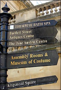 A tourist sign showing the direction to the new Bath spa