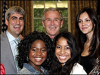 President Bush with American Idol finalists