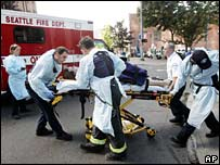 Medics take an injured person away from the Jewish Federation of Greater Seattle