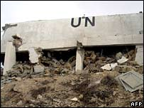 UN observation post destroyed by Israeli bombardment in southern Lebanon