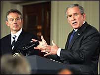 Tony Blair y George Bush