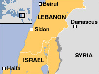 A map of Lebanon, Syria and Israel