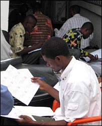 Voting officials at work