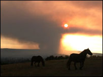 Photo from Yeadon Banks showing the smoke rising from Ilkley Moor. Picture courtesy of Steven and Jo Grace