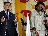 Fuad Siniora y Condoleezza Rice.