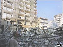 Edificios destruidos en Líbano.