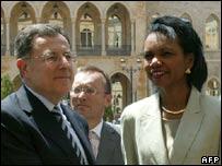 Fuad Siniora y Condoleezza Rice