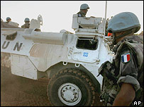 French UN troops on the Lebanon-Israel border