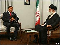 Hugo Chávez y el ayatolá Seyed Ali Jameni
