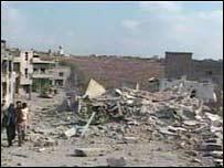 Site of an Israeli air strike near Qana, southern Lebanon