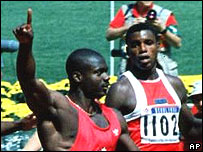 Ben Johnson beats Carl Lewis in the final of the 100m at the 1988 Seoul Olympics