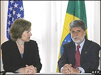 US trade representative Susan Schwab, left, and Brazilian Foreign Minister Celso Amorim