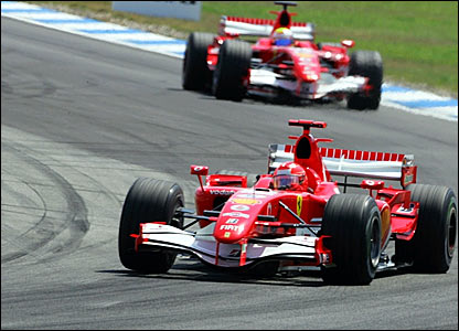Michael Schumacher leads from Felipe Massa